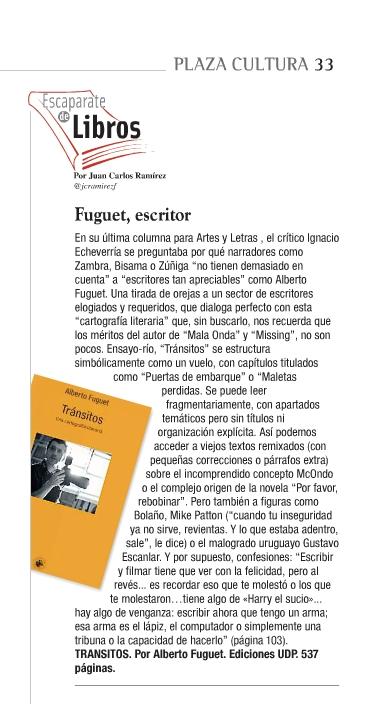 Alberto Fuguet - Tránsitos  (8 de octubre 2013, Plaza Cultura, La Segunda)